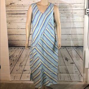 J. Jill 3X Blue Striped Love Linen Maxi Dress